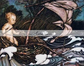 Instant Printable Download - Peter Pan in Kensington Gardens Fairy Tale Water Babies Book Art - Paper Crafts Altered Art Scrapbooking