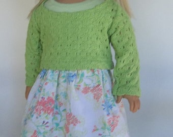 18 in doll clothes/AG doll clothes green/coral/turquoise floral skirt with green cotton slouch sweater