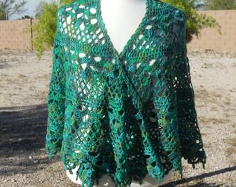 Forest Green Tonal Merino Wool and Nylon Semi-Circular Crocheted Shawl