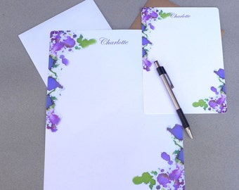 Personalized Letter Writing Stationery, Writing Paper, Flat Note Card Set, Custom Stationary Set, Purple, Pink & Green Watercolor Splash