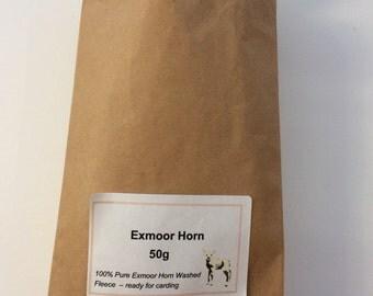 Exmoor Horn Washed Fleece - 50 grams