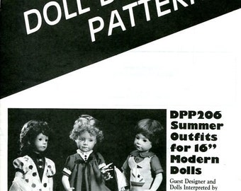 "FREE US SHIP Poissot Doll Dress Pattern dpp206 Summer Outfits 16"" Sewing Pattern Modern Insert From Dollcrafter Vintage Magazine"