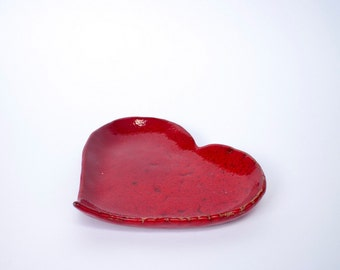 Handmade ceramic heart bowl, pottery snack dish, pinch pot, red heart, ceramic and pottery, jewellery dish, ring dish, ring holder