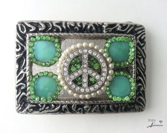 Peace sign belt buckle, Boho buckle, Vintage Rhinestone buckle, Teenager buckle, Woman's, Free shipping, gift for her, Eyes of Anastasia