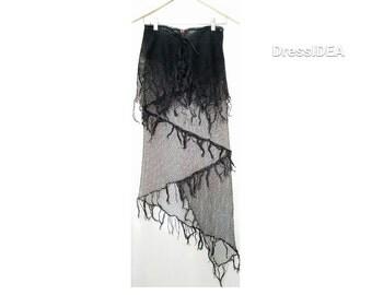 Gothic Skirt Dancewear Fringe boho skirt asymmetric skirt black party skirt bohemian clothing sheer pixie skirt high low skirt