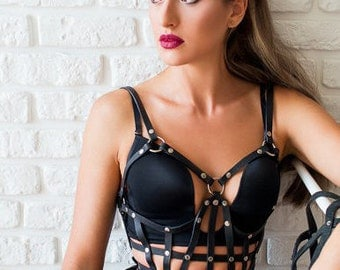 Leather Corset Harness,Fetish Harness,Body Cage,Corset Bralette,Leather Harness,Fashion Harness,Gothic,Leather Top,Corset Bra,cage clothing