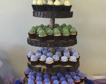 5 Tier Cupcake Stand- Rustic Log Slice Cupcake Stand