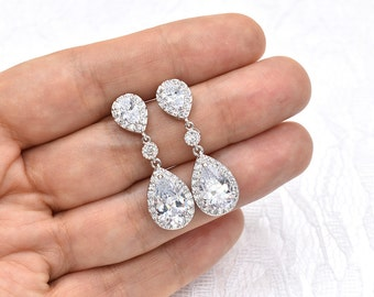 Bridal Earrings Wedding Earrings Cubic Zirconia Teardrop Earrings Crystal CZ Earrings Bridal Jewelry
