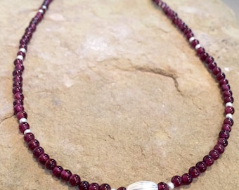 Red necklace, garnet necklace, layering necklace, sterling silver necklace, sundance style necklace, gemstone necklace, gift for her