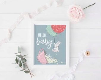 Hello baby, Baby bunny rabbit art, Bunny nursery art, Nursery bunny, Baby nursery, Baby nursery decor, Baby nursery wall art