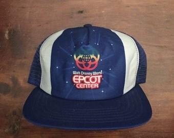 Vintage 80's Epcot Center Walt Disney World Trucker Hat Snapback Baseball Cap