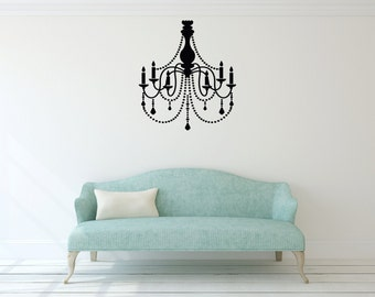 Chandelier Wall Vinyl Decal, Chandelier decal, Wall Decal Room Decor, Nursery Wall Decal, Family Bedroom, Home Decor, Interior Design