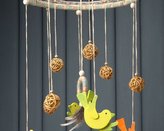 Baby Mobile, Baby Mobiles Hanging, Birds Baby Mobile, Baby Crib Mobile, Dream Catcher Mobile, Baby Dream Catcher, Nursery Mobile, Multicolor