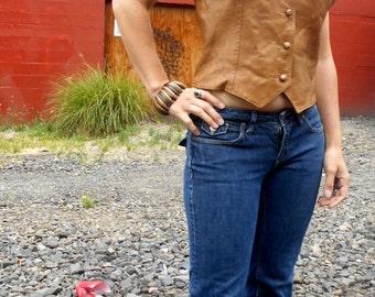 Vintage leather vest / Vintage Western Vest / Boho Hippie Vest / Cropped Leather / Cowgirl vest / rocker vest /