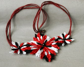 Red necklace Wife gift for Christmas Geometric necklace Kanzashi fabric necklace Unique jewelry Bib red white black necklace Gift for her