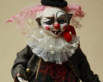 Clown doll Dark Circus, horror doll clown, scary clown clay doll, unique Gothic art doll clown, Halloween doll, Halloween decor doll, clown