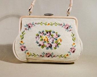 Vintage Original 30ties Embroidered Beige Flower Bag, Handbag, Wristpurse, Evening Bag