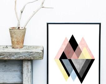 Triangle Art Print, Scandi Decor, Abstract Art Print, Printable Art,  Scandinavian Design, Geometric Art, Instant Download, Nordic Art