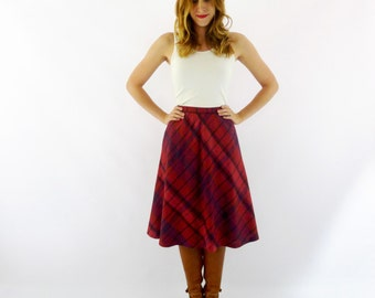 1980's Plum Plaid A Line Skirt - Size Small