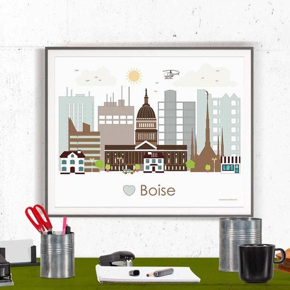Boise Print Poster Wall Art Boise Skyline By Greengreendreams
