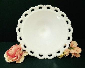 Vintage Anchor Hocking Pedestal Platter, Milk Glass Pedestal Fruit Bowl, Lace Edge