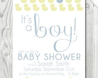 Duckie Baby Boy Shower Invitation     Digital   Baby Boy   Printable   Duckie Theme   Baby Shower   Invitation