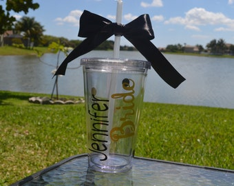 Personalized Bride Tumbler, Wedding Party Tumbler, Bachelorette Party Tumbler, Bride Tumbler, Bachelorette Tumbler, Wedding Tumbler