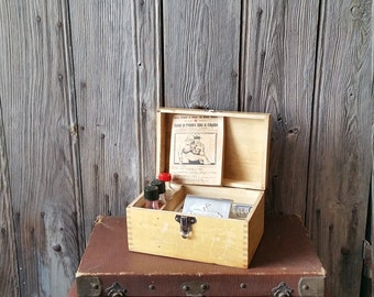 French 1930s Scout's First Aid Kit  -  Charming French Scouts First Aid Box Dating to 1937