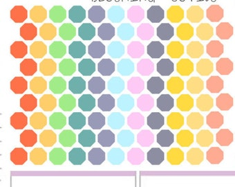 99 Mini Octagon /Honeycomb Stickers Bright Pastels To Use With Erin Condren Planner