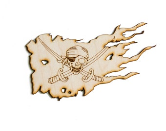 Pirate Flag - Scary, Jolly Roger, Craft Pirate, Wood Pirate, Laser Cut- 1qty - 5.875 x 3.5Inch (14.9225 x 8.89cm) -Scary Pirate Flag Design-