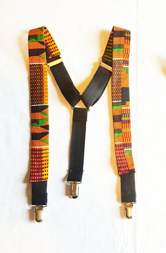 African Kente Suspenders, African Print Suspenders, Kente Suspenders, African Accessories, Adult and Child Suspenders, African Culture