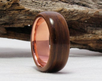 Rosewood Wood and Copper Ring - Bentwood Ring, Wood Ring - Copper Rosewood Ring