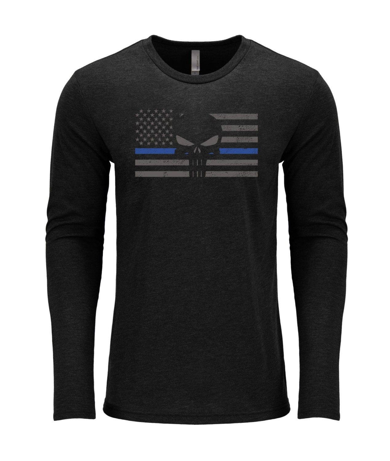 Punisher thin blue line long sleeve soft shirt for Thin long sleeve t shirts