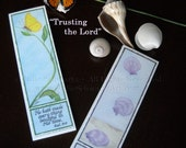 Trust in the Lord ~ Set of 2 List Pads ~ Butterfly and Seashells ~ Hand-Drawn Colored Pencil with Scripture in Calligraphy ~ 50-Sheet Pads