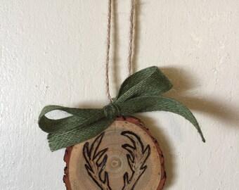 Wood Slice Ornament, Deer Antler Ornament, Wood Burned Ornament