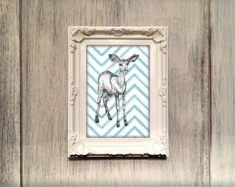 Impala illustration print, impala nursery gift, antelope wall art, african animal new baby gift, blue green orange pink impala UK