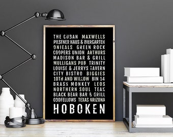 Hoboken Print - Restaurants And Bars - Subway Poster, Boyfriend Gift, Husband Gift, Wall Art, Train Scroll, Bus Scroll, Word Art, Typography