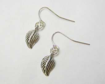 dAINTY LEAF Earrings, 925 Silver Hook Dangles, Tree Leaves, Nature, Rustic, Minimalist, 3D Woodland Jewelry, Gift Under 10, 3 Petunia Place