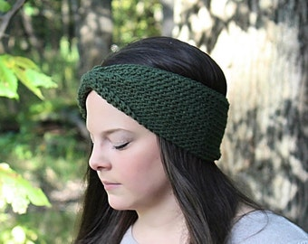 Green Headband, Dark Green Earwarmers, Green Crochet Headband, Green Winter Headband, Dark Green Headband, Green Knit Headband, THE MCKENZIE