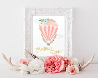 Adventure Awaits Printable, New Baby Gift, Gift for Her, Gift for Girls, Hot Air Balloon Baby Shower, Nursery Decor, Instant Download