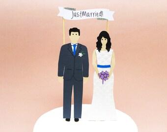 Bride and Groom Cake Topper, Custom Wedding Cake Topper, Bride and Groom Wedding Cake Topper, People Cake Topper, Couple Wedding Cake Topper