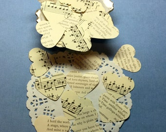 Vintage Heart Confetti*Chopin Sheet Music, Shakespeare Book Pages*100 +pieces*Wedding Confetti*