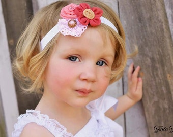 Flower Headband, Pink, Girls Headband, Baby Headband, Flower Bow, Girls Bow, Baby Bow, Hair Clip, Girl Hair Clip, Baby, Girls, Bow, Headband