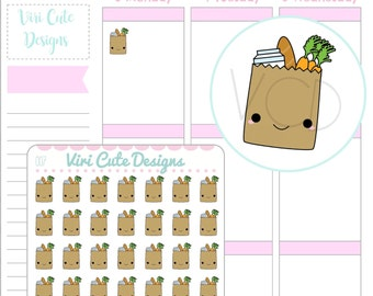 Kawaii Grocery Bag Planner Stickers, Grocery Planner Stickers, Cute Grocery Planner Sticker, Grocery Shopping Sticker, Grocery Sticker |007