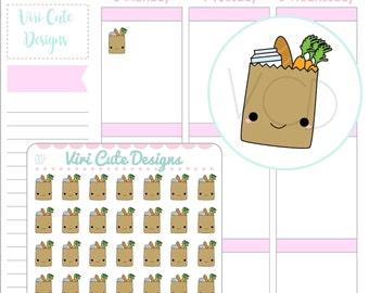 Kawaii Grocery Bag Planner Stickers, Grocery Planner Stickers, Cute Grocery Planner Sticker, ...