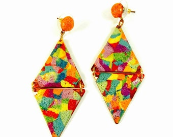 Rainbow Geometric Earrings/ Rainbow drop Earrings/ Ooak Diamond Earrings/ Summer Earrings/ Color Block Dangle Earrings/ Polymer Earrings