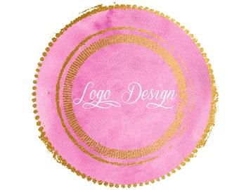 Watercolor Logo Design, Watercolour Circle,Pink And Gold Circle,Watercolor Circle Logo, Elegant Logo