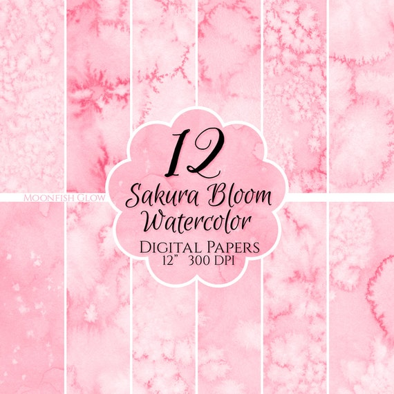 12 Sakura Bloom Watercolor Digital Papers - Watercolor, Commercial Use