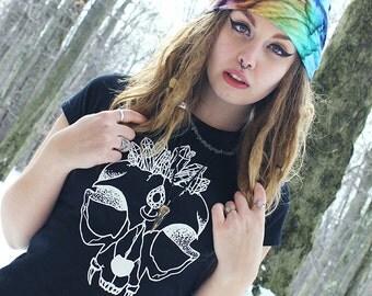 Clearance Crystal Cat Skull Women's T-Shirt