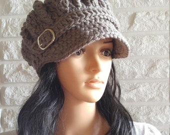 Women's chunky crochet newsboy hat, brown pageboy, beanie with brim, women's accessories, gifts, fall, winter, and spring fashion